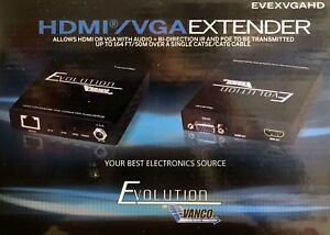 Details about NEW Vanco HDMI / VGA Extender - Sends HDMI or VGA up to 164ft  over CAT5 or CAT6