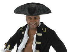 Pirate Hat Corsair Tricorn Black Faux Suede Buccaneer Costume Hat