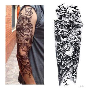 Full Arm Tattoo XXL Single Use Tattoo Scary-Death Timer 44 5x15 5cm ...