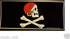 """Pirate Flag 3.25""""x 8.5"""" Pirate Flag with Earring Decal Bumper Sticker DC 044"""