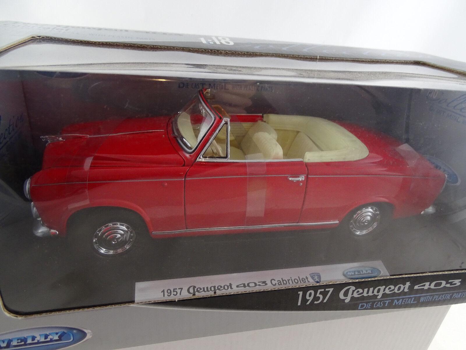 1 18 Welly  12551w 1957 peugeot 403 cabriolet rojo rareza