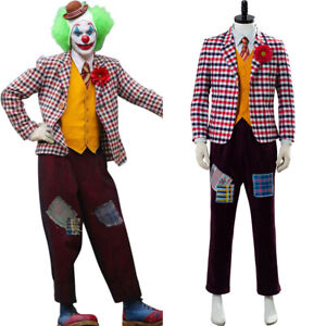 Joker-2019-Joaquin-Phoenix-Arthur-Fleck-Cosplay-Costume-Checked-Suit-Wig-Outfit