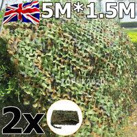 2x 5m X 1.5m Camo Camouflage Net Netting Hunting Shooting Hide Army