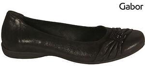 Details zu GABOR Schuhe Ballerinas schwarz metallic Nubuk echt Leder G Weite NEU