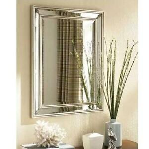 Ancanthus leaf wall mirror rectangle beveled silver foyer bathroom new ebay for Silver framed bathroom mirrors
