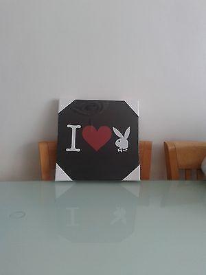 Playboy canvas art print - love heart bunny logo -