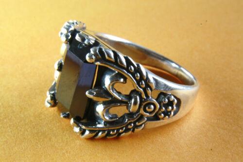 Fleur-de-Lys lirios Onyx Gothic anillo de plata 925 plata 337