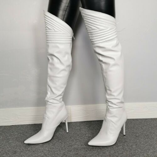 Details about  /Sexy Women Overknee High Thigh Boots Pointy Toe Stilettos Heel Nightclub Shoes