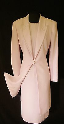 CONDICI Size 14 Pink Beaded Ladies Designer Wedding Dress & Jacket Coat Outfit