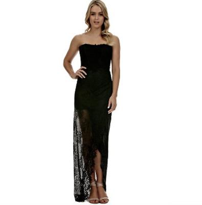Size 8 Langhem Talia Evening Dress Black Lace Corset Strapless Gown Formal Maxi | eBay