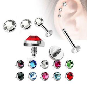 Extra-Flach-Lippen-Ohr-Helix-Tragus-Stecker-Kristall-Platte-Labret-Piercing-Inne