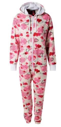 Women/'s Valentine/'s Designer Love Heart Floral Print Fleece Onesee Fashion S//XL