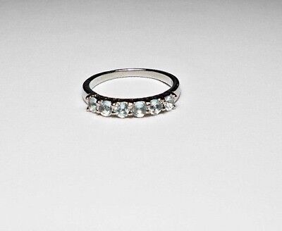 6 x Sky-Blue Topaz Stainless Steel ring choose size