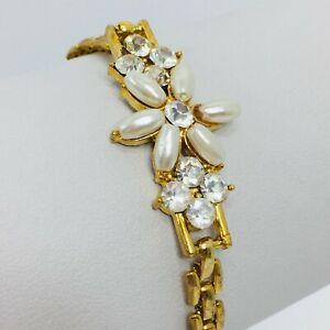 "Vintage Bracelet Rhinestone Faux Pearl Flower Gold Tone Chain Link 7.5"""