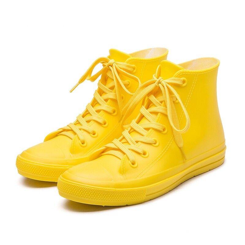omaggi allo stadio donna Autumn Rain stivali Pvc scarpe Waterproof Rubber Rubber Rubber Lace Up Ankle Non-Slip avvio  marchi di moda