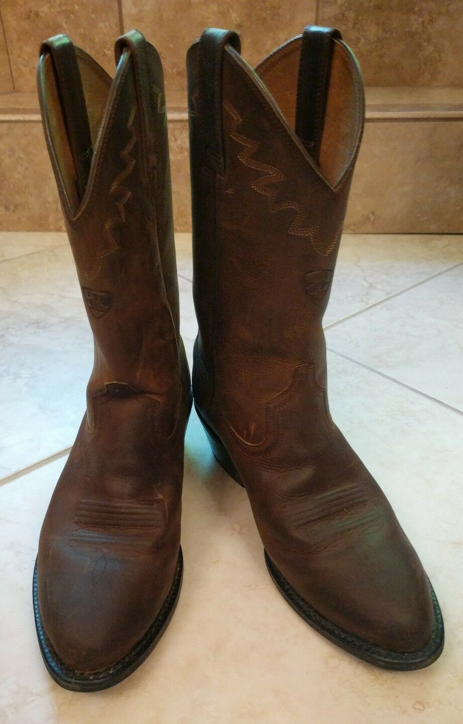 ARIAT SEDONA Brown Leather Western Boots Mens Size 7.5 D Excellent Condition