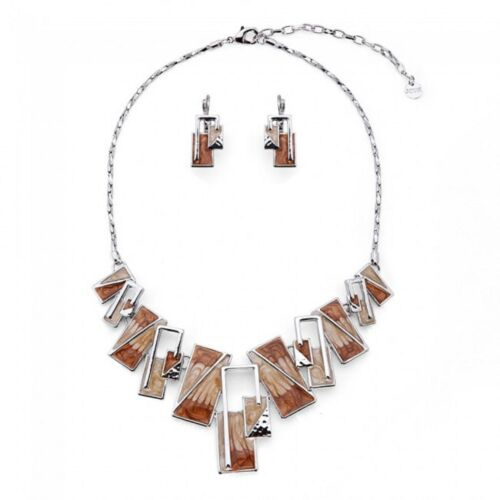 Jcuk Bisutería Collar Geométrico Cuadrado de aleación de Esmalte Pendientes Conjunto