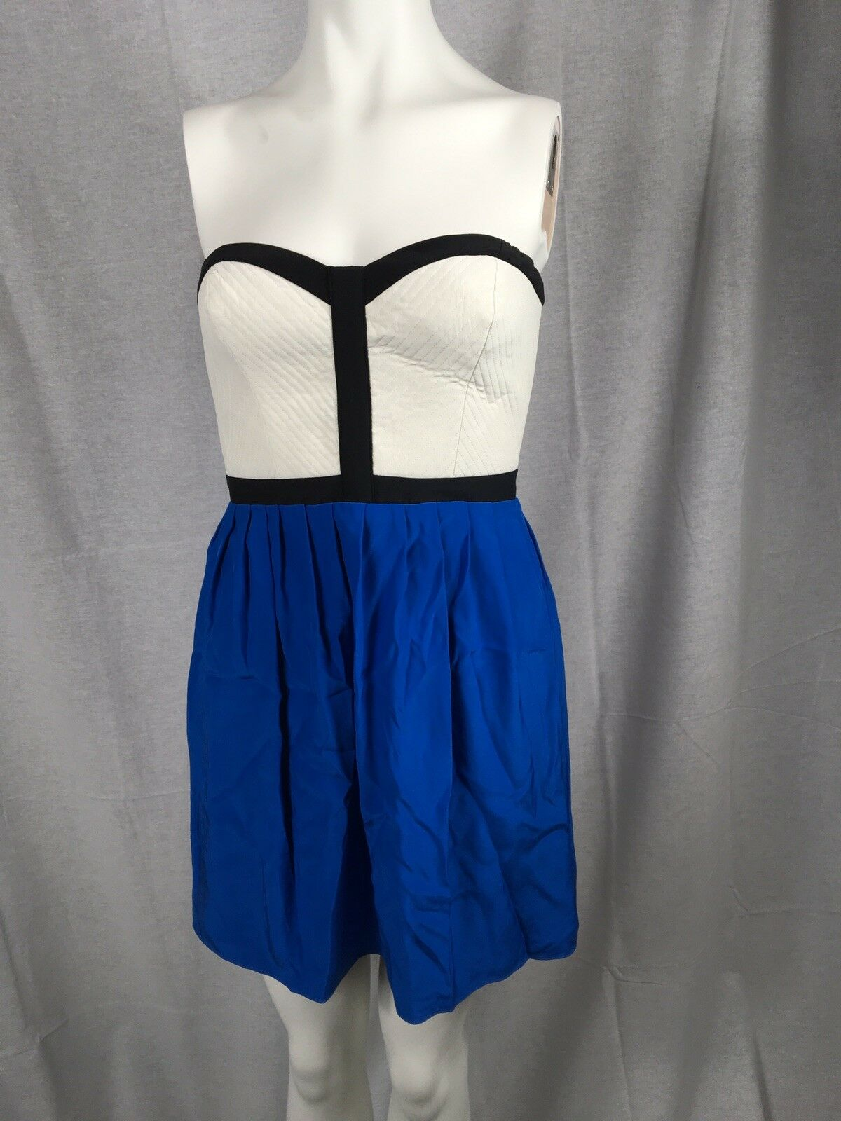 292 Parker Strapless Silk Dress  White Quilted Sweetheart Bodice bluee Silk NWT