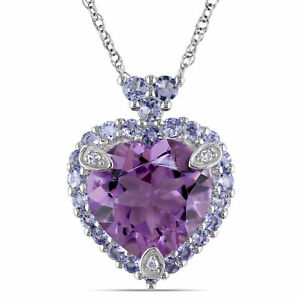 Amour 10k White Gold Amethyst, Tanzanite and Diamond-accented Necklace