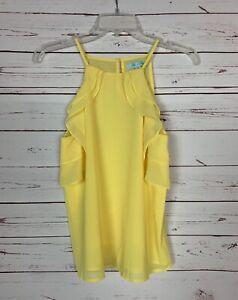 She-Sky-Stitch-Fix-Women-039-s-M-Medium-Yellow-Ruffle-Sleeveless-Top-Tank-Blouse