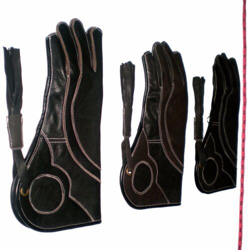 Jet Nero /& Marrone Guanto Falconeria Tripla Raggi pelle Nubuck 35.6cm 3 Layer