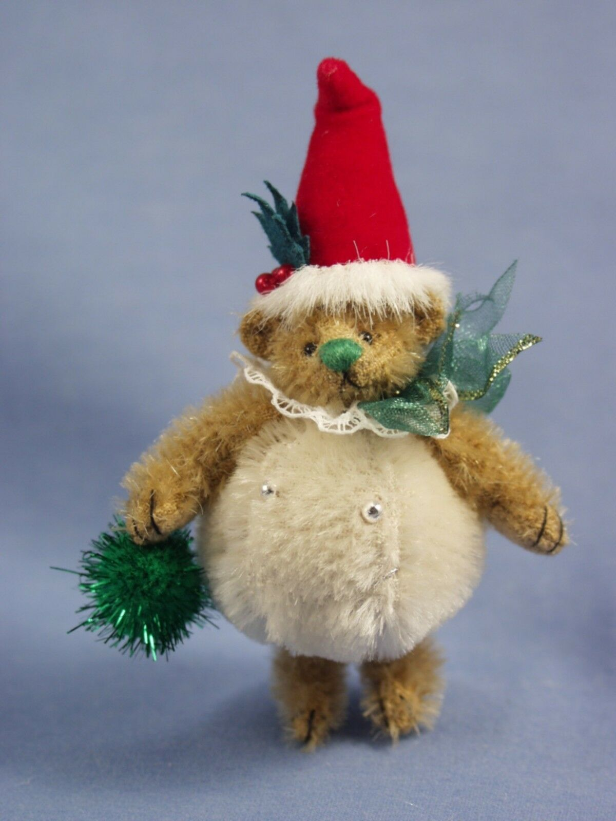 DEB CANHAM'S  SNOWBALL TEDDY oroEN MOHAIR TEDDY DRESSED AS SNOWBALL W SANTA HAT