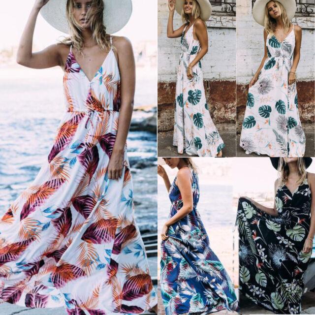 Women's Flowerl Boho Maxi Evening Party Long Dress Beach Sundress Summer Dress