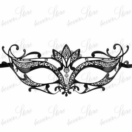 with Rhinestone Black Simple Majestic Venetian Laser Cut Metal Masquerade Mask