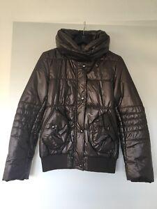 Details zu Damen Jacke Winterjacke uni braun glänzend mit verstecketer Kapuze Gr. M 38 NEU