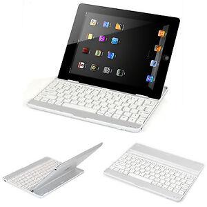 White-Aluminum-Bluetooth-Wireless-KeyBoard-Stand-Case-For-iPad-2-3rd-4-Gen-Mini