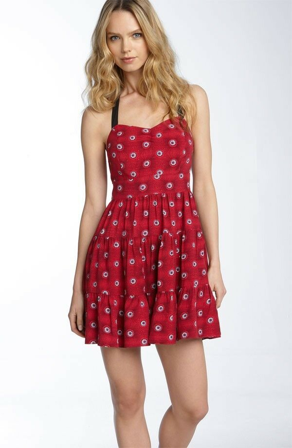 FREE PEOPLE PEEKABOO PRINT HALTER DRESS, Red combo, Size 8, MSRP  148.0