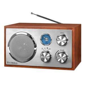 Cherry Wood Singingwood Vintage AM//FM Analog Tuner Radio with Aux 3.5mm Jack