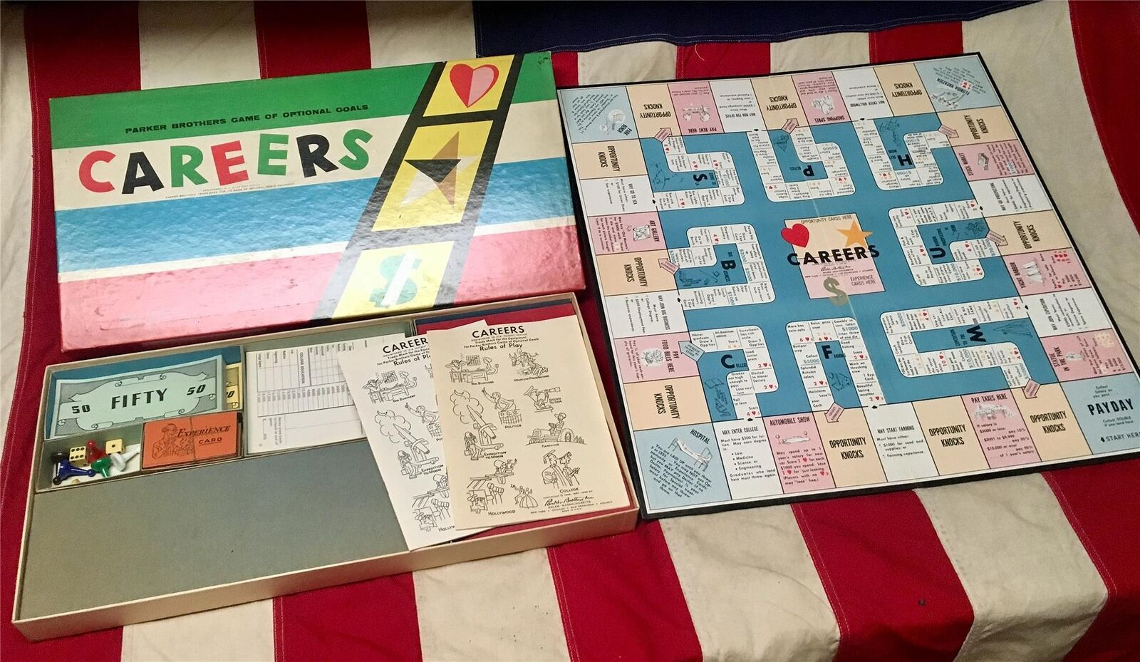 Vintage 1955 Careers Board Game Parker Brossohers Game of Optional Goals Complete
