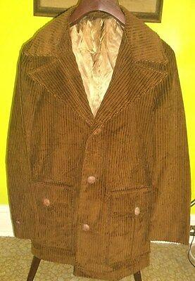 EXCELLENT Mens Vintage Mid Century Mod Corduroy Size 38 Jacket Coat Cotton Small