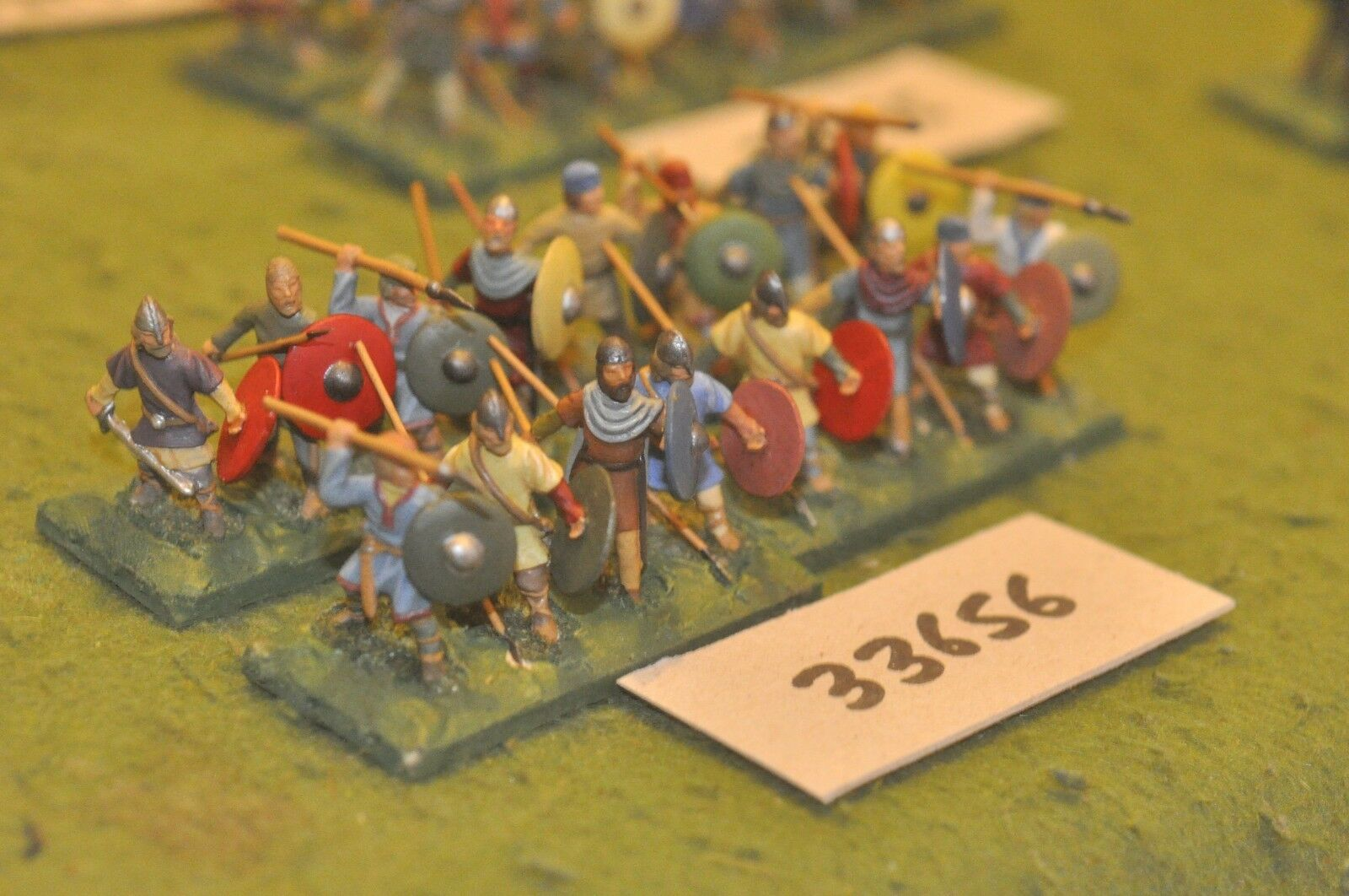 25mm dark ages   anglo-saxon - spearmen 16 figures - inf (33656)