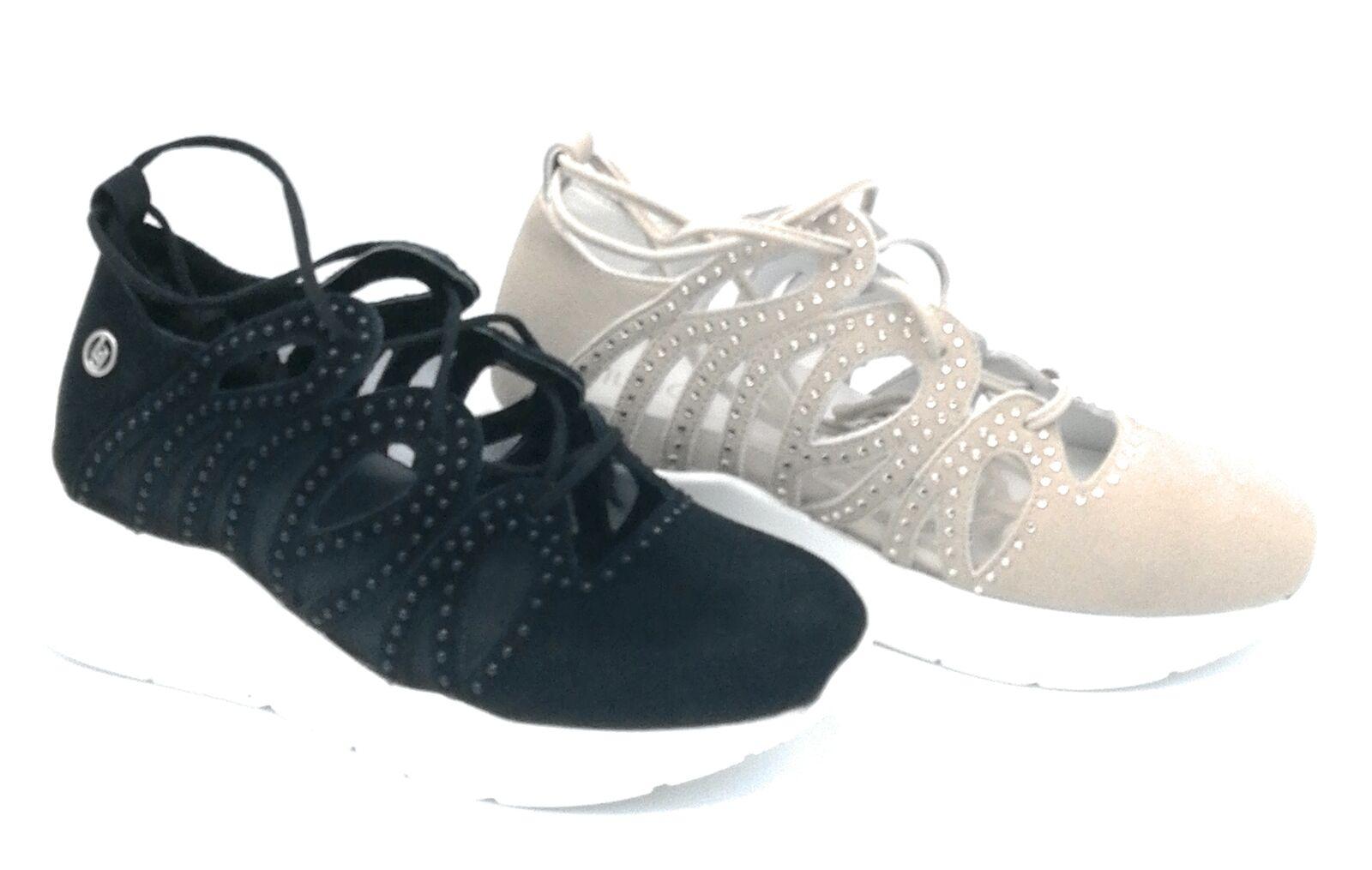 Liu jo B19005 sneaker shoelace suede black   beige inserts network nylon