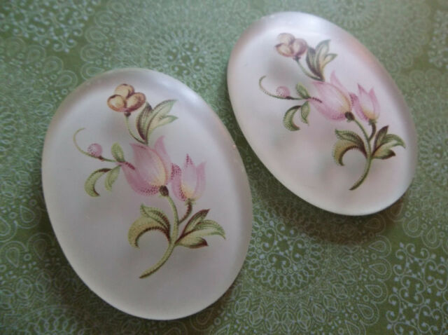 Vintage Cameos - Pink Tulip Flowers Oval 40X30mm Cabochons Made in Germany Qty 1