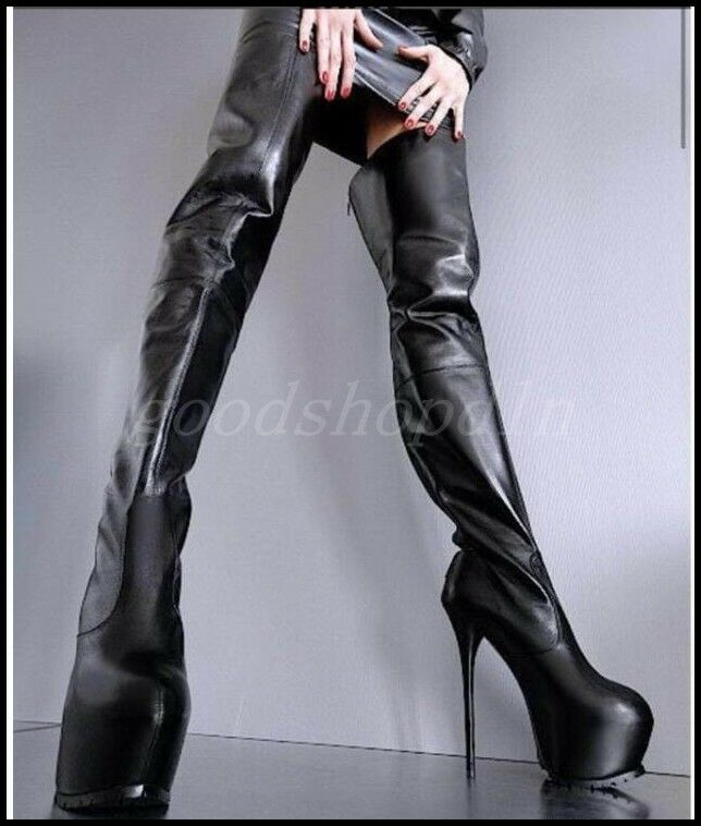 Cuero para mujer Super Tacón alto encima de al rodilla al de muslo botas Zapatos sexy club de cremallera trasera 5f3f9c