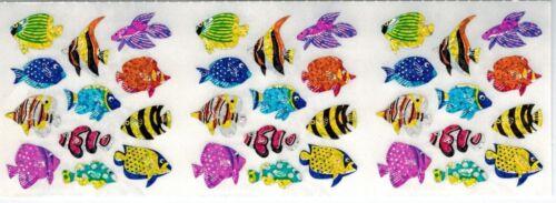 Sandylion Stickers Strip GLITTERY COLORFUL LITTLE FISH