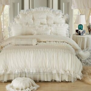 Princess Lace Bedding Set Luxury King Size Bed Sheet Quilt Sheet Bed Skirt New Ebay