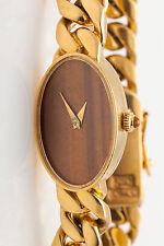 Vintage Tiffany & Co Chopard Tiger Eye 18k Gold CUBAN LINK Ladies Dress Watch