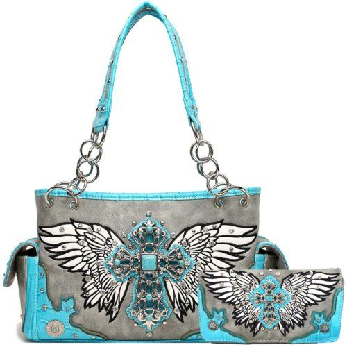Western Style Cross Studded Wings Concealed Carry Purse Bag Women Handbag Wallet