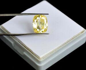 Natural Yellow Sapphire 8.70 Ct Ceylon Gemstone Cushion Cut AGI Certified K1719