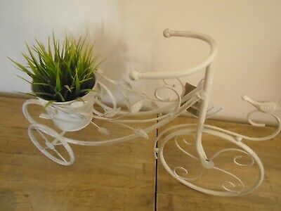 WHITE ORNATE METAL TRICYCLE /& BIRDCAGE PLANTER GARDEN DECORATION