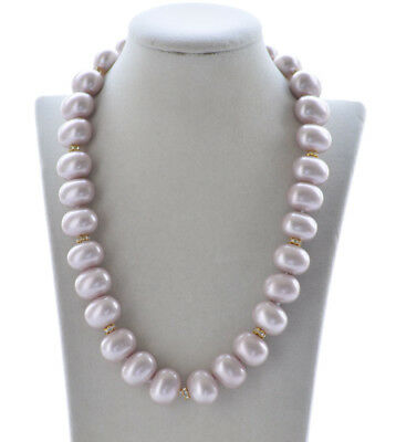 """P6677 Big 17/"""" 20mm Gemstone-Blue Egg SOUTH SEA SHELL PEARL NECKLACE"""