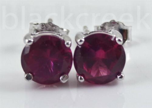 2.00cw Brilliant Simulated Ruby 6mm ~925  Silver~ Basket Stud Solitaire Earrings