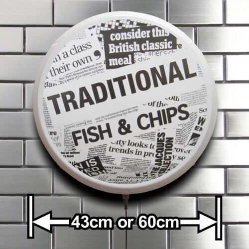 FISH AND CHIPS  ILLUMINATED SIGN CAFE RESTAURANT SHOP CATERING VAN LIGHT BOX