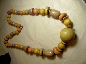 Vintage-70s-80s-PASTELS-Wood-Beaded-Necklace-NATURAL-BOHO-HIPPIE-24-034