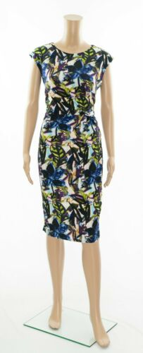ex Wallis Abstract Print Stretchy Watercolour Bodycon Ruched Versatile Dress