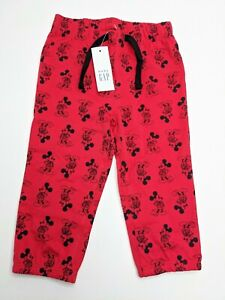 New-Disney-baby-Gap-Red-amp-Black-Mickey-Boy-Pants-3-6-amp-12-18-Months